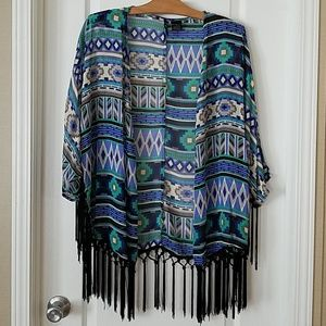 New direction tribal pattern with tassels kimono